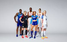Team USA 2016 Olympic uniforms by Nike. Front to back: Soccer, Track & Field, Soccer, Track & Field, Basketball, Basketball. Rio 2016.