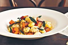Gnocchi with roasted pumpkin and sage brown butter sauce - and pine nuts with cumin and garlic.