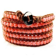 Leather Bead Bracelet Five Wrap Natural by CookalasHouseOfCards, $48.00