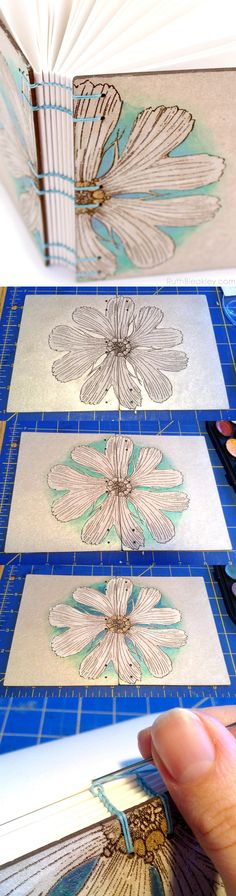 coptic bookbinding handpainted daisy journal by Ruth Bleakley Canvas Art Projects, Book Projects, Book Journal, Journal Cards, Journal Covers, Homemade Books, Bookbinding Tutorial, Stitch Book, Fabric Journals