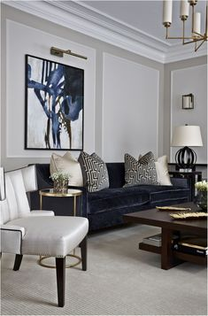 Modern Contemporary Living Room Furniture How to Get A Modern Classic Living Room Inspiration Design Grey Walls Living Room, Navy Living Rooms, Living Room Paint, New Living Room, Living Room Modern, Living Room Interior, Home Interior, Gray Walls, Interior Styling