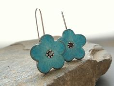 Blue turquoise and  grey clay flower earrings by AntigoniCreations