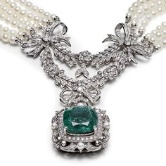 A PEARL, DIAMOND AND EMERALD SET NECKLACE OVERALL LENGTH: APPROX 37CM (SHORTEST…