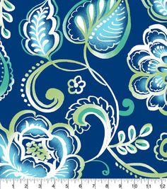 "Anti-Pill Fleece Fabric 58""-Blue Green Floral Royal"