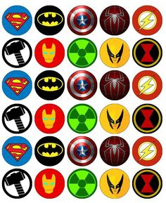 Superheroes Logos Cupcake Toppers Edible Wafer Paper Buy 2 Get 3Rd Free