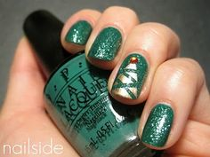 Unhas Pintadas // Verde // Brinco // Árvore de Natal // Esmalte // Fofa ^^