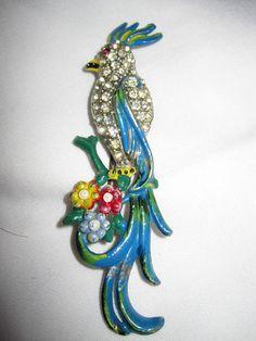 Art Deco Enamel & Rhinestone Parrot Brooch