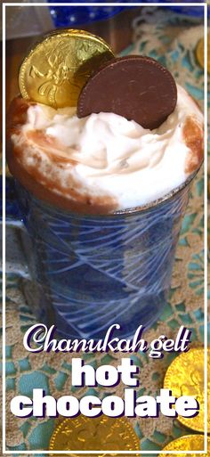 This rich, creamy, indulgent hot chocolate drink is a real Chanukah treat. Thick & unctuous, it's made with Chanukah gelt for a delicious chocolate flavour.