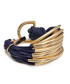 Navy  Gold String Bracelet//