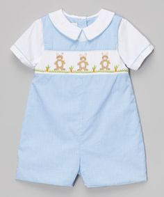 Love this Blue Gingham Bunny Smocked Romper - Infant by Petit Ami on #zulily! #zulilyfinds