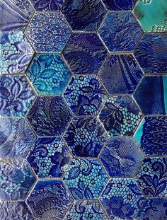 Decorative blue and aqua hexagonal tiles by guymitchelldesign