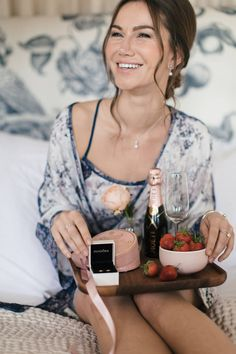 Bridesmaid in floral chemise and breakfast tray with PANDORA rose gold earrings | Morning of the Wedding | Bridal Preparations | Getting Ready | Thank You Gifts |
