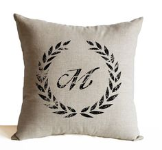 Monogram Pillow Cover Personalized Linen Pillow  by AmoreBeaute