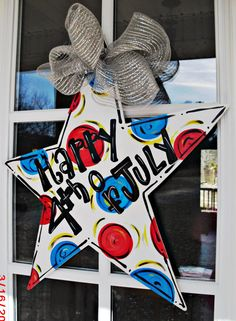 HAPPY 4th of JULY STAR Wood Cut Out Door by TheWaywardWhimsy, $35.00