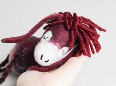 Olivia - Felt Donkey. Art Toy. Felted donkey. Christmas gift. Marionette. Puppet  Animals Toys. burgundy purple red . MADE TO ORDER