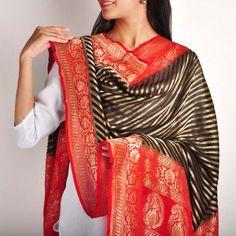 Black & Red Striped Banaras Silk Dupatta
