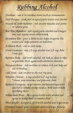 Fluster Buster: 35 Uses for Rubbing Alcohol - WWII Series Put that rubbing alcohol to good use. 35 tips for cleaning, health and beauty. Household Cleaning Tips, Cleaning Recipes, House Cleaning Tips, Cleaning Hacks, Spring Cleaning, Homemade Cleaning Supplies, Cleaning Agent, Household Products, Household Cleaners