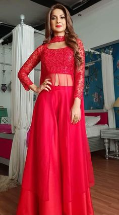 Fabulous Red Net Palazzo Style Dress - - Buy Fabulous Bright Red Palazoo Suit worn by Jennifer Winget with Stone Work. Party Wear Indian Dresses, Designer Party Wear Dresses, Indian Fashion Dresses, Indian Gowns Dresses, Kurti Designs Party Wear, Dress Indian Style, Indian Designer Outfits, Net Dresses, Indian Fashion Trends