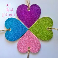 'All that glitters' hearts These 10cm wooden hearts have been decorated with a colourful glitter paper and finished with vintage style twine. These hearts are perfect for the festive season and would look beautiful hung on the Christmas tree. Fayre price £3.00 (normal price £4.00) UK postage £1.50(can be combined) Www.facebook.com/mymyrtlehouse