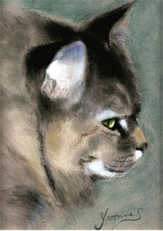 """Cat Portrait by Yvonne. Seiwell. If I were a jealous person I would be drooling green over this one                                                             """" Another cat portrait of mine."""" speaks Yvonne"""