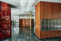 Mail Room - European Building Foyers Photographed by Romain Laprade Mid-century Interior, Interior Architecture, Foyers, Portal, Barcelona Pavilion, Mail Room, Still Life Photographers, Famous Architects, Alvar Aalto