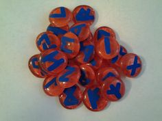 Handcrafted Norse Red and Blue Glass Runes Set by SisterCraftings on Etsy