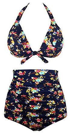 f58b9e726c Angerella Women Vintage High Waisted Bikinis Swimsuits Swimwear (BKI045-N1-M)  Sale