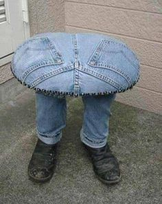a chair of jeans