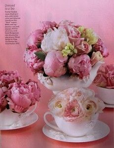 peony in cute white saucers with our names on them as wedding favors?