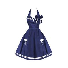 Hell Bunny Motley 50's Sailor Swing Dress Navy ❤ liked on Polyvore featuring dresses, sailor dress, swing dress, navy dress, navy sailor dress and tent dress