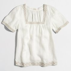 Factory embroidered peasant top : Linen | J.Crew Factory