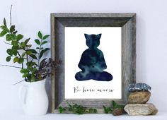 Zen Cat Print / Be Here Meow / Be Here Now / by MadKittyMedia