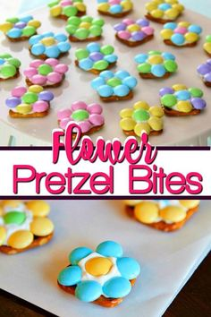 Flower Pretzel Bites are an easy Easter dessert or spring snack! A pretzel snack recipe that requires only three ingredients (white candy melts, waffle pretzels and pastel M&Ms) to make the perfect combination of sweet and salty that will satisfy everyone's taste buds. Perfect for Mother's Day, Easter, Baby Showers and more!  #recipe #sweets #babyshower #dessert #eastertreat #dessert #salty #mothersday #pretzel