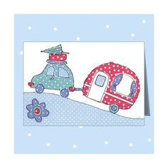 Caravan by Dots & Spots Retro Caravan, Retro Campers, Fabric Cards, Paper Cards, Sewing Cards, Christmas Applique, Free Motion Embroidery, Machine Embroidery Projects, Quilted Wall Hangings