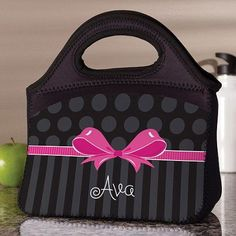 Personalized Sweet Bow Lunch Bag, Black