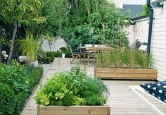 Herb boxes // Purple Area book: Under bar himmel Outdoor Spaces, Outdoor Living, Outdoor Decor, Herb Garden, Vegetable Garden, Art Vert, Raised Planter, Back Patio, Small Patio