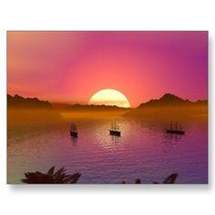 Paradise Sunset at the Bay Postcard