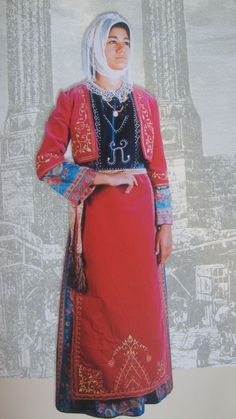 Traditional festive costume from the Erzurum/Karin region.  Armenian.  Clothing style: early 20th century. This is a recent workshop-made copy, as worn by folk dance groups.