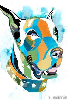 Chic modern GREAT DANE Pop Art portrait by mediagraffitistudio  Awesome dog portrait