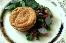 A recipe for a morel souffle with radishes and their greens, dried morels, and peas.