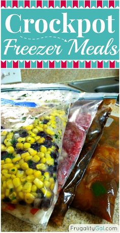 http://www.frugalitygal.com/2014/01/crockpot-freezer-meal-recipes.html  Here are the four freezer-to-crockpot recipes I made:   -Mandarin Chicken (my recipe) -Cilantro Lime Chicken w/ Corn and Black Beans -Crockpot Sloppy Joes -Apple Butter Pork Chops