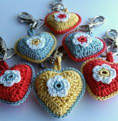 Crochet heart keychains