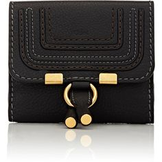 Chloé Women's Marcie Small Wallet ($565) ❤ liked on Polyvore featuring bags, wallets, black, strap wallet, snap wallet, equestrian bag, chloe bag and chloe wallet