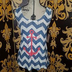⚓⚓BNWT CHEVRON ANCHOR Blue and white and color with a hot pink anchor on the front common new with tags extremely cute PS please ignore the background I know it doesn't match LOL Tops Tank Tops