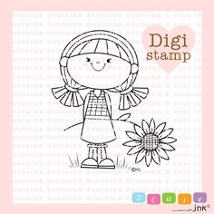 Sunflower Girl Digital Stamp for Card Making Paper Crafts Scrapbooking Hand Embroidery Invitations Stickers Coloring Pages (3.99 USD) by 2CuteInk