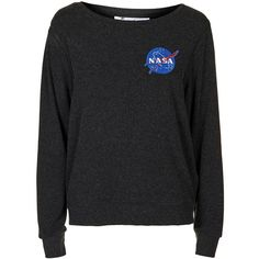 Nasa Sweatshirt by Tee and Cake ($49) ❤ liked on Polyvore featuring tops, hoodies, sweatshirts, sweaters, sweatshirt, grey, topshop tops, gray top, grey sweatshirt and grey top