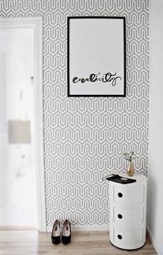 Trendy wallpaper - WANT the Kartell storage unit! Hallway Inspiration, Interior Inspiration, Hallway Decorating, Interior Decorating, Trendy Wallpaper, Blog Wallpaper, Geometric Wallpaper, Scandinavian Interior, Inspired Homes
