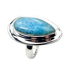 'Blue Drop' Sterling Silver Rare Genuine Dominican Larimar Ring, Size 5.75