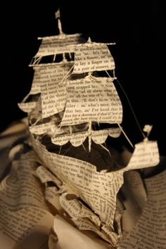 Ship book sculpture using a book called 'Ships & Sailing: Tales of the Sea' Old Book Art, Up Book, Old Book Pages, Quentin Blake, Boat Crafts, Book Page Crafts, Book Sculpture, Sculpture Lessons, Art Sculptures