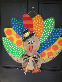 turkey burlap door hanger. $45.00, via Etsy.